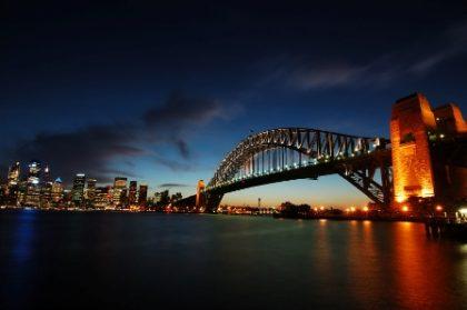 Sydney skyline and harbour bridge at dusk.